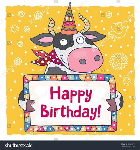 cow birthday card template happy birthday greeting card template stock vector