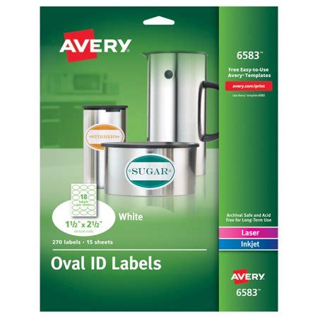 avery template 6583 avery oval easy peel labels 1 1 2 x 2 1 2 matte white