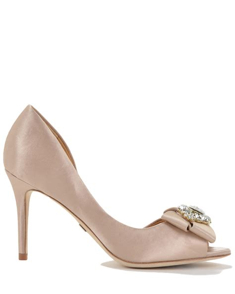 badgley mischka reality satin embelished evening shoe in