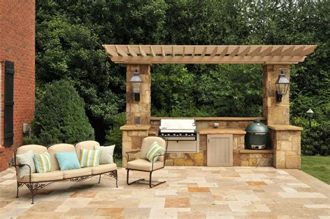 outdoor pergolas covered outdoor kitchen weatherproof splashy kamado joe in patio traditional with outdoor