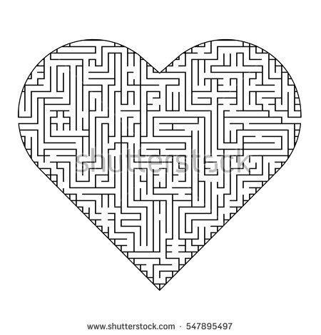printable heart maze heart maze stock images royalty free images vectors