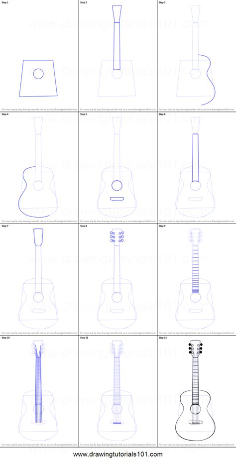 how to do doodle step by step how to draw an acoustic guitar printable step by step