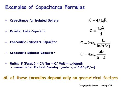 capacitor calculation formula overview definition of capacitance calculating the capacitance ppt