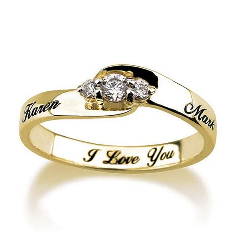 engraved engagement promise ring gold plated couples ring