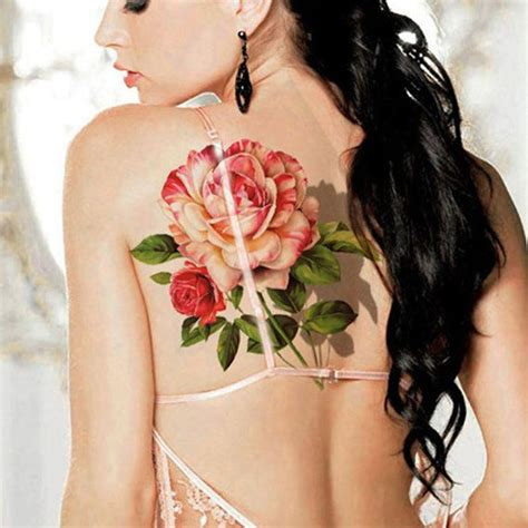 tattoo on lower shoulder large 3d chinese rose flower and butterflies temporary