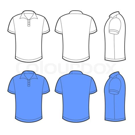 front back and side views of white and blue blank polo