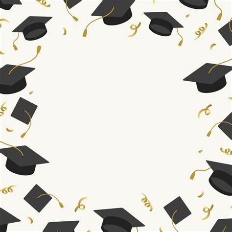 Graduation Background With Mortar Boards Vector Vector