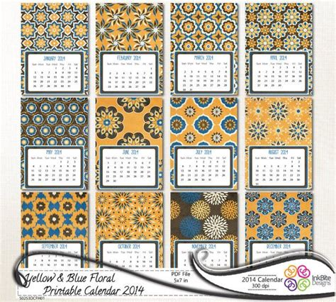 5x7 printable calendar printable calendar 2014 5x7 yellow blue floral printable