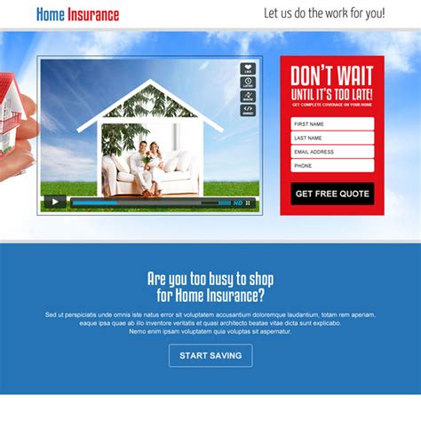 home insurance landing page design templates to capture