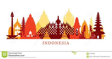 tutorial vector illustrator indonesia indonesia architecture landmarks skyline shape stock