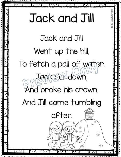 row row row your boat lyrics polar bear jack and jill printable nursery rhyme poem for kids