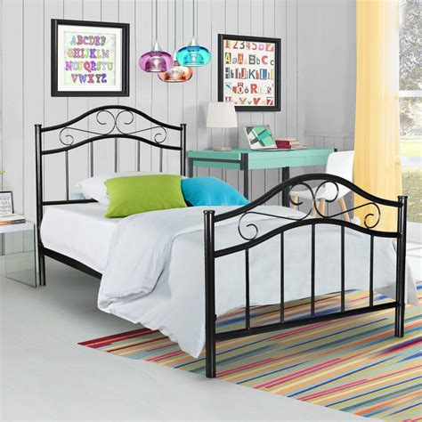 black metal platform bed frame twin size bedroom kids teen