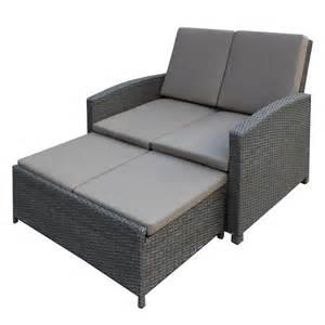 garten sofa gartensofa villanova inkl hocker polyrattan grau