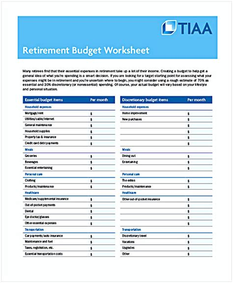 retirement budget template budget worksheet pdf