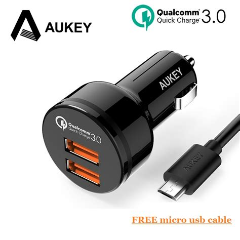 Aukey Charge 30 36w Dual Port Charger Pa T13 2 aukey usb fast car charger 36w charge qc3 0 dual 2 port mini phone car charger for samsung