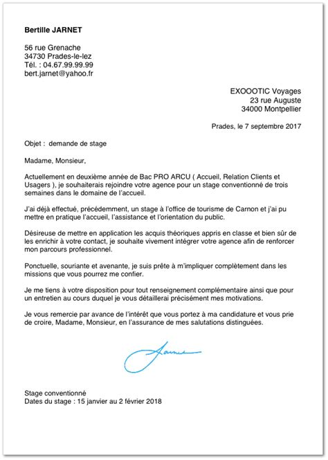 Exemple De Lettre De Motivation De Stage Exemple De Lettre De Motivation Pour Un Stage En Bac Pro