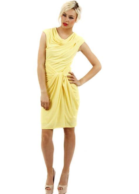 draped goddess dress goddess dress yellow midi dress draped yellow dress