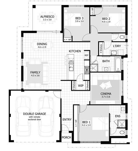 3 bed room floor plan 3 bedroom house plans home designs celebration homes