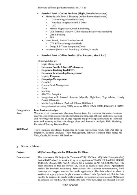 Lead Business Analyst Sle Resume by Lead Business Analyst Resume Of Nitin Khanna