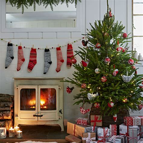 house and home christmas decorating country christmas living room with stockings decorating