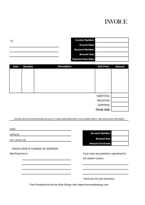 invoice forms templates free free editable and printable billing invoice template