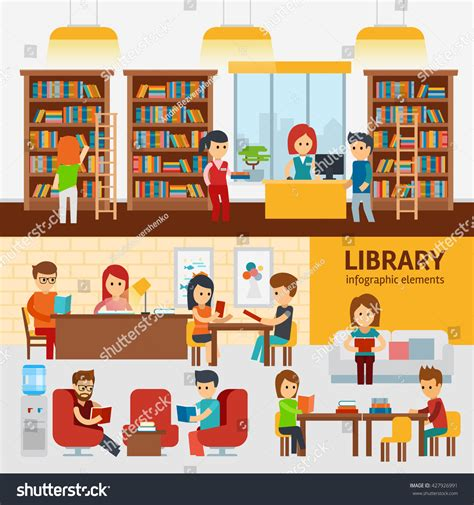 design elements library library interior with people reading books infographic