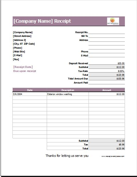 template receipt for services wedding services receipt template for excel receipt