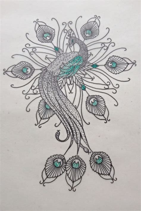 watercolor tattoo design dotwork sweet dotwork peacock with green elements design