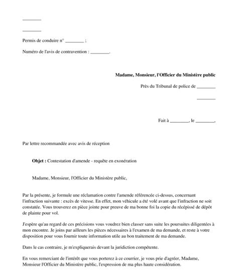 Modele Contestation Amende mod 232 le de lettre contestation d une amende courrier type