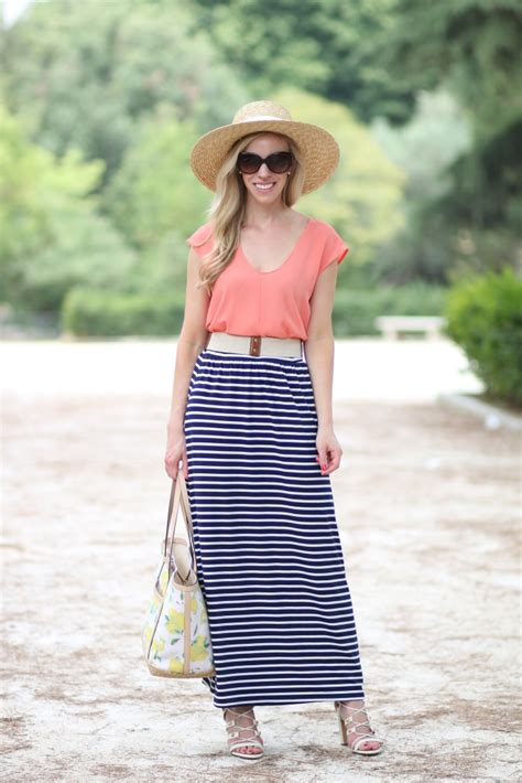easy breezy straw hat striped maxi skirt lace up