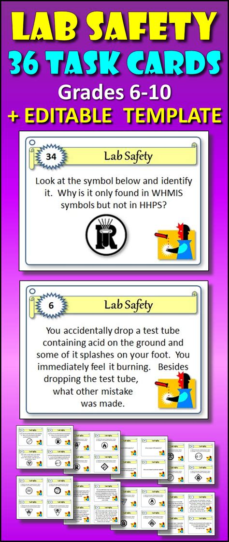 lab safety task cards with editable template