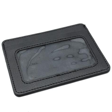 Dompet Kartu Bahan Kulit Mini Wallet dompet kartu bahan kulit dengan slot transparan mini card holder black jakartanotebook