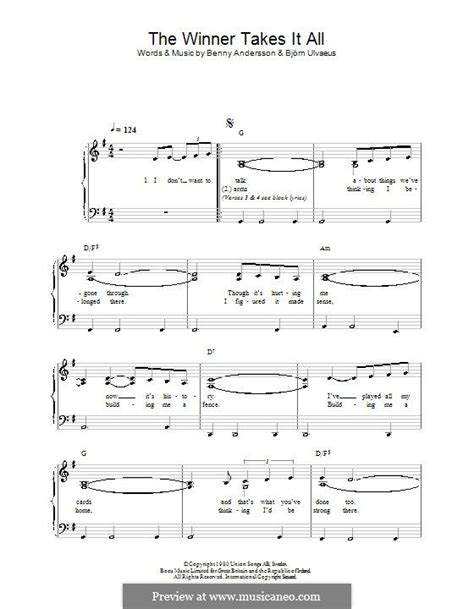 winner chords the winner takes it all abba for easy piano with