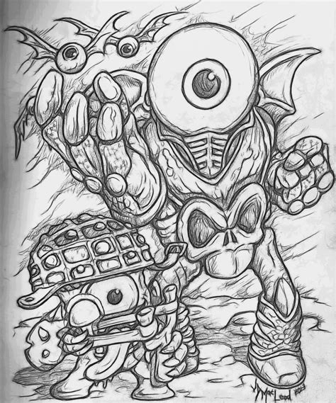 eye brawl coloring page skylanders giants eyebrawl and shroomboom by jdmacleod on