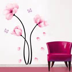 Pink Flower Wall Stickers Wall Sticker Home Decor Wall Art Butterfly Decoration