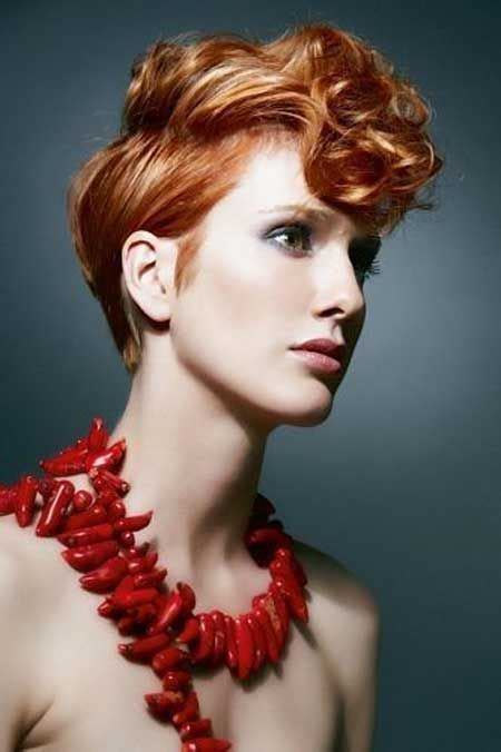 copper and brown sort hair styles red pixie cut with hues of blonde and light blonde colour