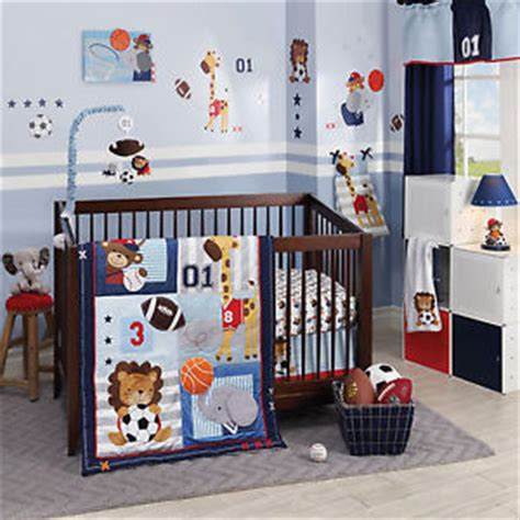 Nursery 4 Pc Sports Animals Boys Bedding Set Baby Crib Baseball Nursery Bedding Sets