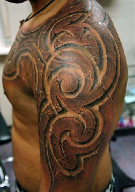 3d tribal sleeve tattoos 60 3d tribal tattoos for masculine design ideas