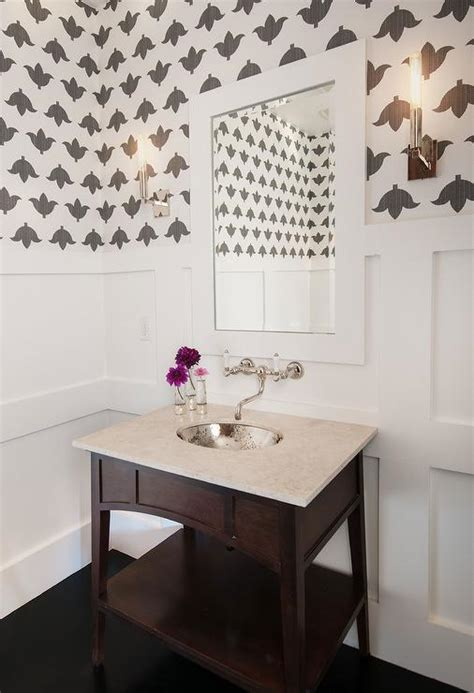 powder room  board  batten walls  hammered metal