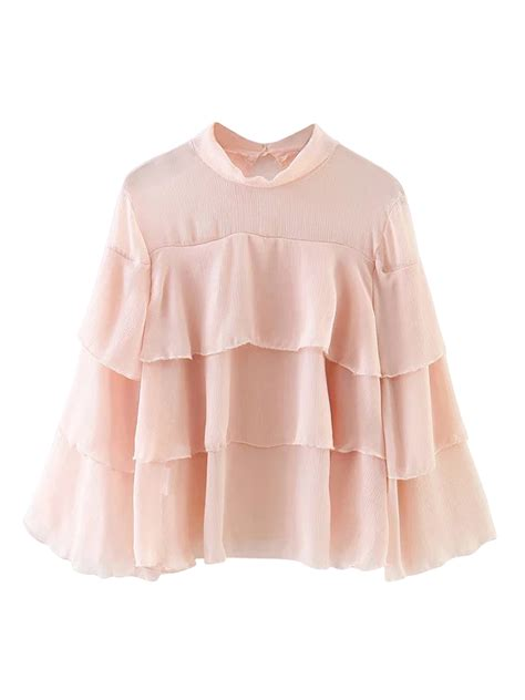 3 4 Sleeve Ruffle Blouse pink 3 4 sleeve ruffle detail sheer blouse choies