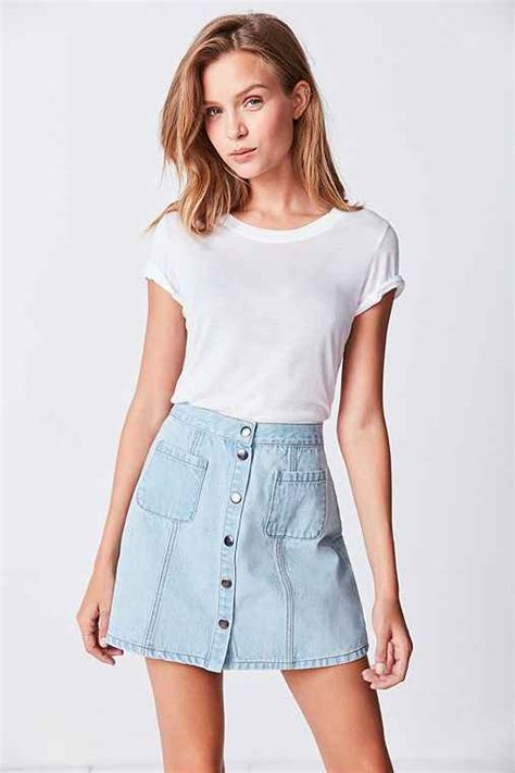 bdg denim button front skirt outfitters