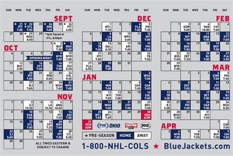 printable blue jackets schedule blue jackets nhl schedule jacket to