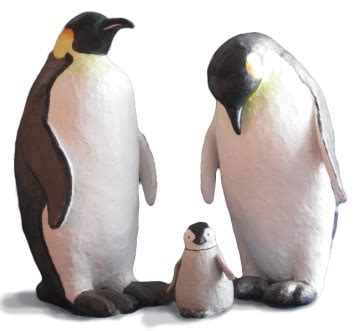 How To Make A Paper Mache Penguin - paper mache penguin family sculptures cat books