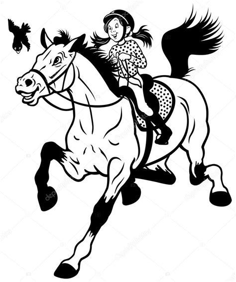 imagenes a blanco y negro de caballos dibujos animados chica montar a caballo negro blanco