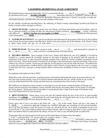 California Lease 13 California Rental Agreement Form Pay Stub Template
