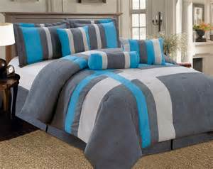 15 pc micro suede comforter curtain set gray turquoise king size new ebay