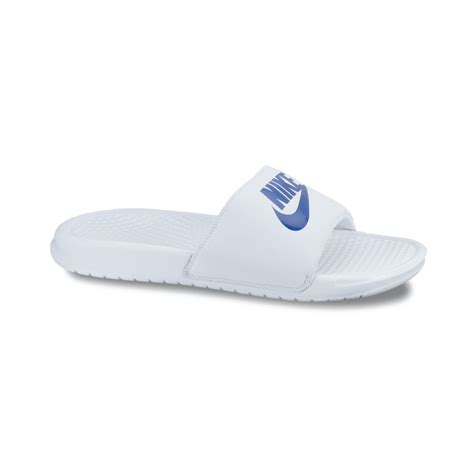 white nike sandals for nike benassi jdi sandals in white for lyst