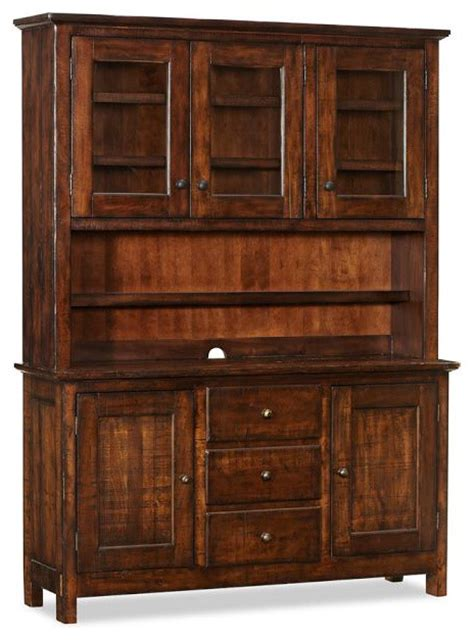 rustic buffet and hutch benchwright buffet hutch rustic mahogany stain traditional buffets and sideboards