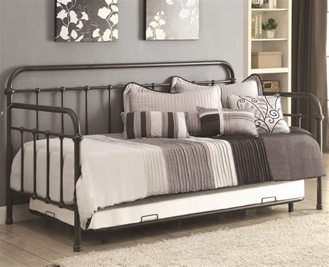 Metal Daybed With Trundle 300398 Bronze Metal Daybed With Trundle From Coaster 300398 Coleman Furniture