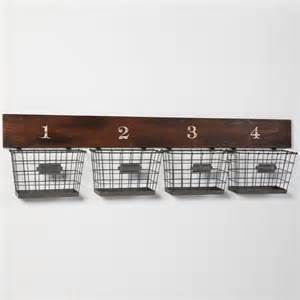 Wall Storage With Baskets Wood And Wire Wall Multi Basket Eclectic Storage And